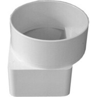 Ipex Canplas 414463BC Duraspout 3 By 4 Inch Offset Downspout Adapter To 4 Inch Sewer Pipe White