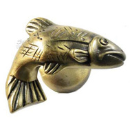 Sierra Lifestyles SL-681383 Rustic Lodge Collection Fish Cabinet Knob Antique Brass