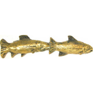 Sierra Lifestyles SL-681404 Rustic Lodge Collection Fish Pair Cabinet Pull Antique Brass