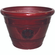 True Temper HDP-012498 Southern Patio Planter Pot 15.25In Oxblood