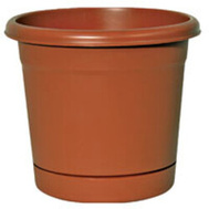 True Temper RN1608TC Southern Patio 16 Inch Rolled Rim Planter And Saucer