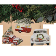 Gerson 2354170 Assorted Vintage Vehicle Ornament Wood 5 Inch