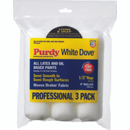 Purdy 14F864000 White Dove 9 Inch 1/2 Inch Nap Roller Covers Fabric Pack Of 3