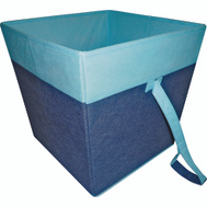 HomeBasix 05000953B Non Woven Folding Storage Bin 15 By 15 By Inch Square Two Tone Blue