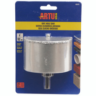 Artu 02870 4 Inch Tungsten Carbide Grit Hole Saw With Arbor & Pilot Bit