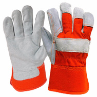 Big Time Products TB245DPT Gray Split Leather Gloves Large