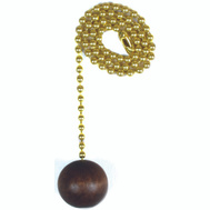 Jandorf 60312 Ceiling Fan And Lamp 12 Inch Beaded Pull Chain Solid Brass With Walnut Wooden Ball