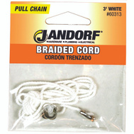 Jandorf 60313 Ceiling Fan And Lamp 3 Foot White Braided Cord Pull Chain With End Bell And Connector