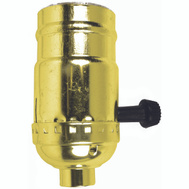 Jandorf 60409 Lamp Socket 3 Way Turn Knob Brass Finish