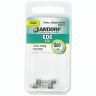 Jandorf 60673 500 Ma GDC Time Delay Glass Fuses 2 Pack
