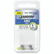 Jandorf 60696 5 Amp GMC Medium Time Delay Glass Fuses 2 Pack
