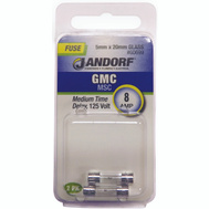Jandorf 60699 8 Amp GMC Medium Time Delay Glass Fuses 2 Pack