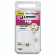 Jandorf 60739 10 Amp S506 Time Delay Glass Fuses 2 Pack