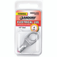 Jandorf 60768 Terminal Electrical Lug Uninsulated 1/2 Inch Diameter Stud Wire Gauge 4