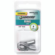 Jandorf 60788 Terminal Ring Nylon Uninsulated 3/8 Inch Stud Wire Gauge 6