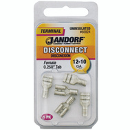 Jandorf 60824 Disconnect Female.25 Inch Tab Uninsulated Wire Gauge 12-10