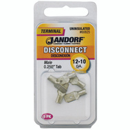 Jandorf 60825 Disconnect Male.25 Inch Tab Uninsulated Wire Gauge 12-10