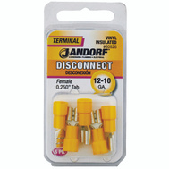 Jandorf 60826 Disconnect Female.25 Inch Tab Vinyl Insulated Wire Gauge 12-10