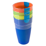 FLP 8009 Easy Pack 16 Ounce Plastic Tumblers Pack Of 4 Assorted Colors
