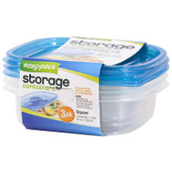 FLP 8058 Easy Pack Square Containers With Lids Pack Of 3 Assorted Colors