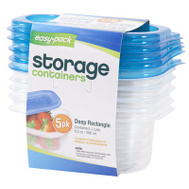 FLP 8061 Easy Pack 9-1/2 Ounce Rectangular Storage Containers With Lids Pack Of 5