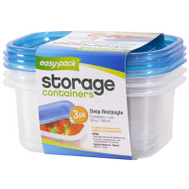FLP 8065 Easy Pack 24 Ounce Rectangular Storage Containers With Lids Pack Of 3