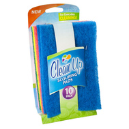 FLP 8824 Clean Up Multi Colored Scouring Pads For Everyday Cleaning Pack Of 10 Assorted Colors
