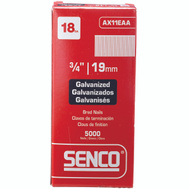 Senco AX11EAA 3/4 Inch 18 Gauge Electro Galvanized Straight Stick Brad Nails (Pack Of 5000)