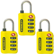 National Hardware S822-029X3 Stanley TravelMax 3 Pack TSA Approved 4 Digit 30Mm Luggage Padlock Yellow