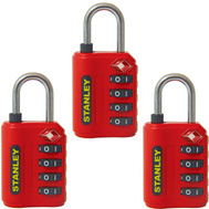 National Hardware S822-025X3 Stanley TravelMax 3 Pack TSA Approved 4 Digit 30Mm Luggage Padlock Red