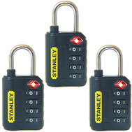 National Hardware S822-021X3 Stanley TravelMax 3 Pack TSA Approved 4 Digit 30Mm Luggage Padlock Black
