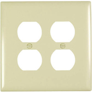 Pass & Seymour TPJ82ICC10 Ivory 2 Gang Double Duplex Outlet Opening Nylon Wall Plate