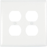 Pass & Seymour TPJ82WCC10 White 2 Gang Double Duplex Outlet Opening Nylon Wall Plate