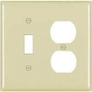 Pass & Seymour TPJ18ICC10 Ivory 2 Gang 1 Duplex Outlet Opening And 1 Decorator Opening Nylon Wall Plate