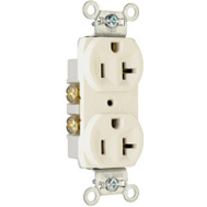Pass & Seymour CR20LACC12 20 Amp 125 Volt Light Almond 2 Pole 3 Wire Grounding Heavy Duty Duplex Outlet
