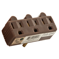 Pass & Seymour 697CC20 15 Amp 125 Volt Brown 2 Pole 3 Wire Grounding Plug In Triple Outlet Adapter