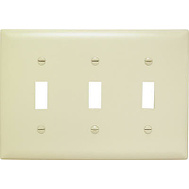Pass & Seymour SP3IU Ivory 3 Gang 3 Toggle Openings Urea Wall Plate