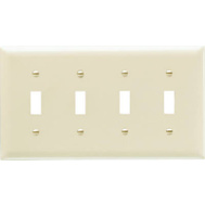 Pass & Seymour SP4IU Ivory 4 Gang 4 Toggle Openings Urea Wall Plate