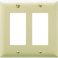 Pass & Seymour SP262IU Ivory 2 Gang 2 Decorator Openings Urea Wall Plate
