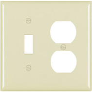 Pass & Seymour SP18IU Ivory 2 Gang 1 Toggle Opening And 1 Duplex Outlet Opening Urea Wall Plate