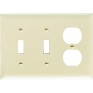 Pass & Seymour SP28IU Ivory 3 Gang 2 Toggle And 1 Duplex Openings Urea Wall Plate