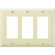 Pass & Seymour TP263ICC12 Ivory 3 Gang 3 Decorator Openings Nylon Wall Plate
