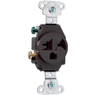 Pass & Seymour 5851CC8 20 Amp 250Vbrown 2 Pole 3 Wire Grounding Heavy Duty Single Outlet