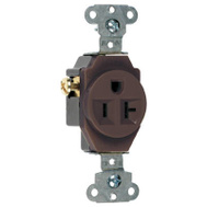 Pass & Seymour 5351CC8 Brown 2 Pole 3 Wire Grounding Heavy Duty Single Outlet