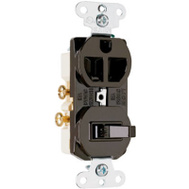 Pass & Seymour 691 15 Amp 125 Volt Brown Single Pole Single Grounding Combination Switch