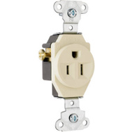Pass & Seymour 5251ICC8 Ivory 2 Pole 3 Wire Grounding Heavy Duty Single Outlet