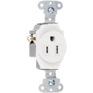 Pass & Seymour 5251WCC8 15 Amp 125 Volt White 2 Pole 3 Wire Grounding Heavy Duty Single Outlet