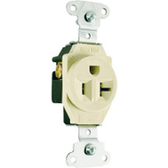 Pass & Seymour 5351ICC8 20 Amp 125 Volt Ivory 2 Pole 3 Wire Grounding Heavy Duty Single Outlet