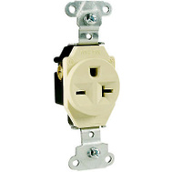 Pass & Seymour 5851ICC8 20 Amp 250 Volt Ivory 2 Pole 3 Wire Grounding Heavy Duty Single Outlet