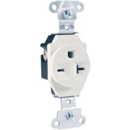 Pass & Seymour 5851WCC8 20 Amp 250 Volt White 2 Pole 3 Wire Grounding Heavy Duty Single Outlet